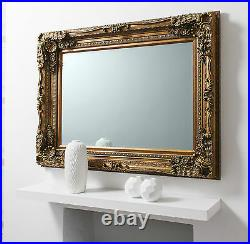 Louis Ornate Shabby Chic Vintage Large French Wall Mirror Gold 118cm X 87cm