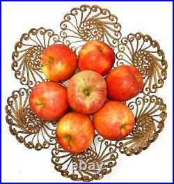 Mid-20th C Hollywood Regency Italy Vint Ornate Gilt Iron Filigree, Footed Bowl