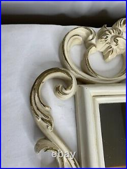 Mirror Baroque White Gold Entry Hall Square Ornate French Style Vintage 35 x 22