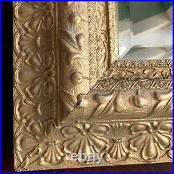 Mirror Wood 22 Ornate Gold Square Diamond Beveled Vtg Antique Picture Frame