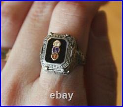 Odd Fellows FLT Ring Sterling Silver Antique Onyx & Enamel Ornate Vintage Pinky