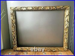 Old Gold Gilt Leaf & Berry Wooden Picture Mirror Frame Ornate Vintage Antique