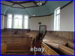 Old Vintage Antique Ornate Church Pews Large Bench Pitch Pine Dining Table Seats