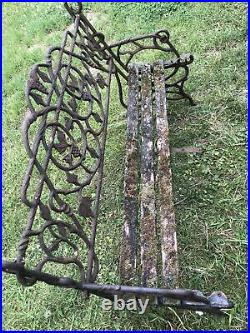 Old Vintage Ornate Cast Iron Back Panel & Ends Seat Garden Bench Need New Slats