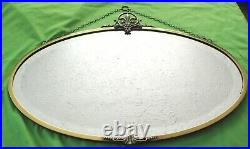 Old ornate antique vintage Brass framed tin backed bevel edged oval Wall Mirror