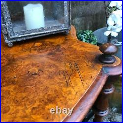 Ornate Antique Vintage 2 Tier Country Chic Walnut Console Table / Bedside Table