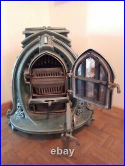Ornate Blue Vintage French Art Deco Enamel Stove