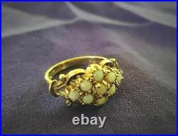 Ornate Edwardian Opal Cluster Ring Gold Antique Dress Cocktail Victorian Vintage