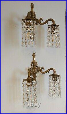 Ornate Pair Wall Lights Down Lights with Strings of Crystals Vintage Bohemian