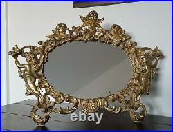 Ornate Victorian Brass Finish Cherub Mirror Picture Frame Vintage