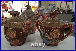 Ornate Vintage Japanese Satsuma Dragon Tea Set withRaised Moriage Decor