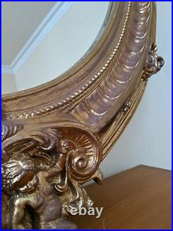 Oval CHERUB Gold Gilt French Louis Vintage Antique Ornate OVERMANTEL Wall Mirror