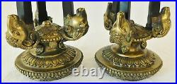 PAIR Antique/Vtg 21 Ornate Solid Brass Figural RAM'S HEAD Candle Stick Holders