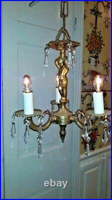 PAIR Vintage Petite French Putti Brass Crystal Ornate 3L Chandelier
