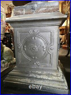 Pair Of Vintage Ornate Heavy Cast Iron Urns On Matching Plinths
