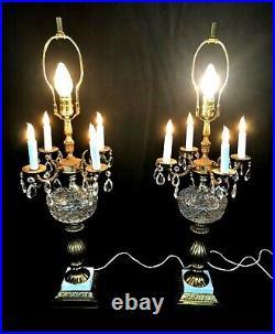 Pair Vtg/Antique Candelabra 4 Arm 5 Light Ornate Brass Glass Table Lamps Prisms