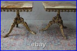 Pair of Coffee Tables Ornate Italian Solid Onyx & Brass Vintage Lamp Tables