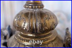 Pair of Vintage French Gold Bronze Finish Ornate Rustic Metal URN Table Lamps