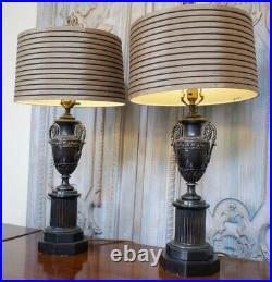 Pair of Vintage French Rustic Bronze Finish Ornate Metal URN Table Bedside Lamps