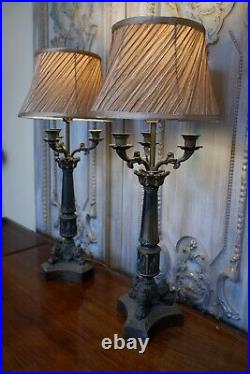 Pair of Vintage French Rustic Bronze Ornate Metal Candelabra Column Table Lamps