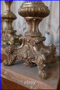 Pair of Vintage French Rustic GOLD Ornate Metal & Marble URN Table Bedside Lamps