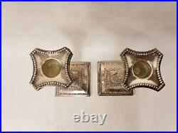 Pair of Vintage Silver Plated Corinthian Column Style Ornate Candlesticks