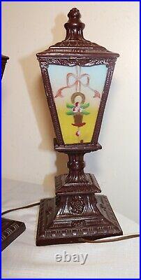 Pair of antique vintage ornate reverse painted glass metal table boudoir lamps