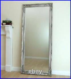 Portland Full Length Ornate Large Vintage Wall Leaner Silver Mirror 160cm x 72cm
