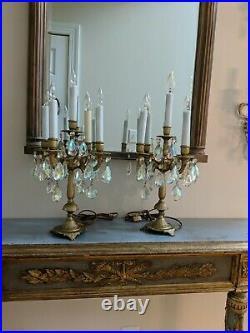 Pr vtg antique candelabra 5 Light ornate brass table lamp candle prisms crystal