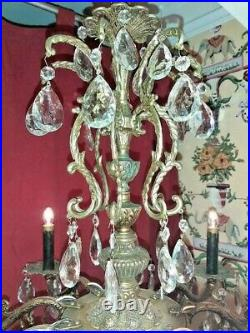 RARE Vintage Ornate 9 Arm Spanish Brass Chandelier loaded with Crystal Prisms