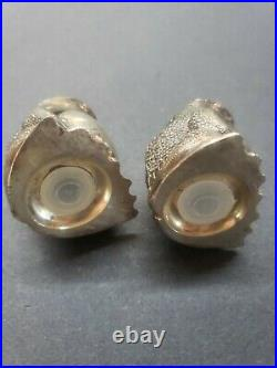 RARE Vintage Tiffany & Co. Sterling silver FROG Salt & Pepper Shakers ORNATE SET