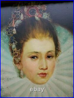 ROYAL WOMAN Vintage Oil Portrait Painting Ornate Gold Gilt Gilded Antique Frame