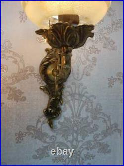 Rare VINTAGE VICTORIAN ORNATE WALL Crystal Globes Wired Pair of SCONCES applique