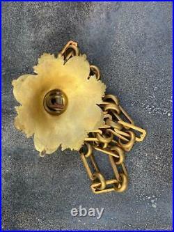 Rare Vintage GILT Gilded 90 2.25M Chain & Ornate Canopy For Huge Chandelier