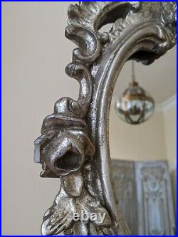SILVER Pewter French Louis Vintage Antique Ornate Large OVERMANTEL Wall Mirror
