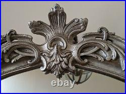 SILVER Pewter French Louis Vintage Style Ornate Large OVERMANTEL Wall Mirror