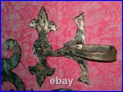 Set 3 Vtg Antique Iron Ornate Gothic Hinges & Door Latch Architectural Salvage
