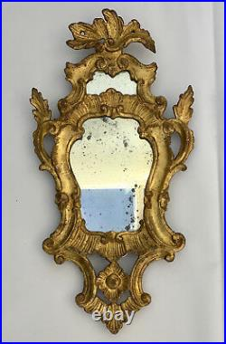 Set Of 2 Italian Rococo Ornate Gold Leaf Wall Mirrors Antique Vintage C1800 Pair
