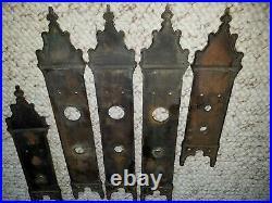 Set of 5 original antique door knob Back Plates ornate Gothic vintage hardware