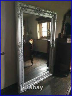 Silver Ornate Large Statement Vintage Swept French Over Mantle Wall Mirror 4ft