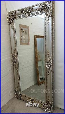 Sonar X-Large Antique Ornate Champagne Silver Vintage Leaner Mirror 200x100cm