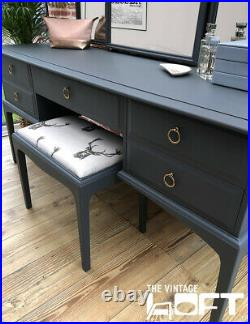 Stag Minstrel Dressing Table, Ornate Mirrors & Stool Hand Painted Grey