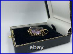 Stunning Large Amethyst Pendant 9ct Gold Vintage Antique Ornate Frame