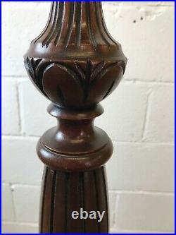 Stunning Vintage Antique Ornate Carved Wooden Mahogany Standard Floor Lamp