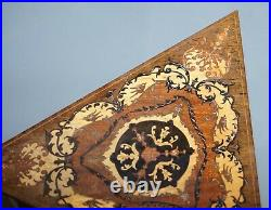 Stunning Vintage Reuge Triangle Musical Side Table Marquetry Inlaid Ornate