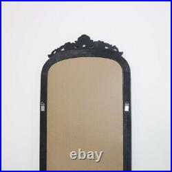 Tall Black Ornate Vintage Wall / Leaner Mirror French large antique glamorous