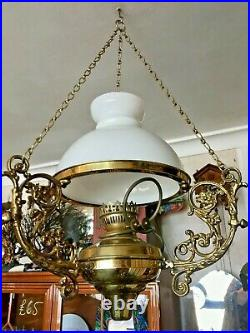 Three Large Ornate Ceiling Hanging Brass Electric Oil Lamps Vintage Antique