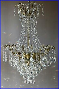 Two Antique Vintage crystal Chandelier Ornate Matching Pair of Lighting, Pendant