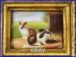 Two Small Vintage Antique Oil Painting Framed Art Ornate Gilt Frames