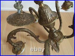 VINTAGE ANTIQUE chandelier 5 arm ornate SOLID BRASS hollywood regency BEAUTIFUL